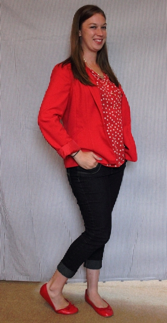 Day 16: Red Makes the World Go Round: Polka dot blouse, red blazer, dark skinny jeans