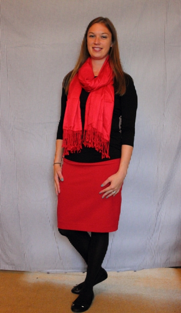 Day 17: A Day in the Office: Red pencil skirt, black casual top