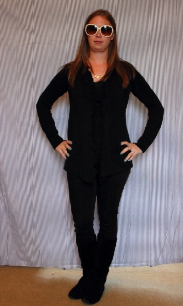 Day 18: The Hangover: Black tank, black drape  sweater, black skinny jeans