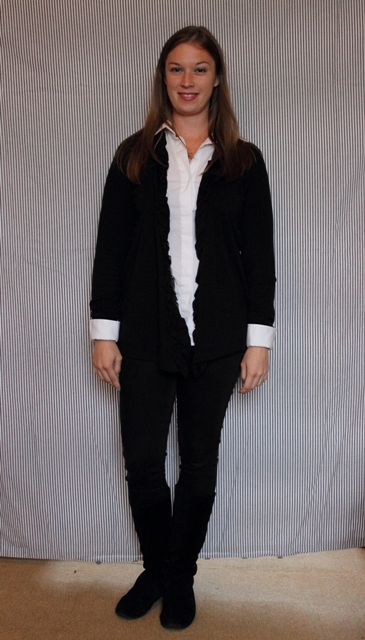 Day 19: The Classic: White button down, black drape sweater, black skinny jeans
