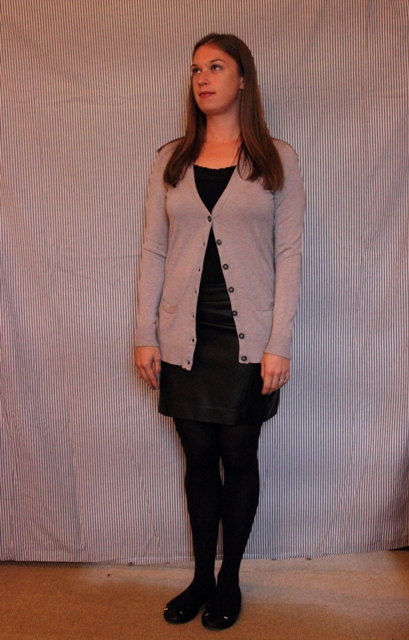 Day 23: Dazed & Confused: Black layering tank, grey cardigan, & black leather mini