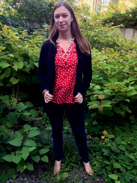 Day 28: : Into the Jungle: Polka dot blouse, black drape sweater, dark blue skinny jeans