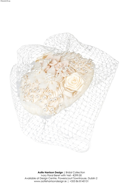 Aoife Harrison - Ivory Floral Beret with Veil - High Res