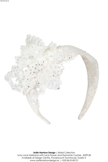 Aoife Harrison - Ivory Lace Hairband with Lace Flower - High