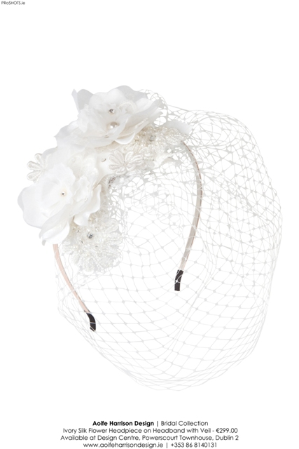 Aoife Harrison - Ivory Silk Flower Headpiece with Veil - Hig