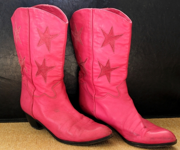 Vintage, Italian leather, pink cowboy boots.