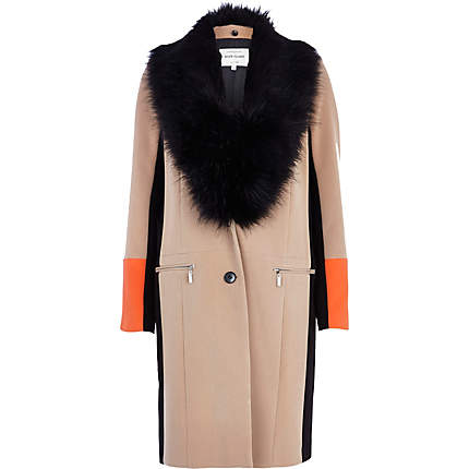 River Island Beige Color Blocked Faux Fur Collar Coat