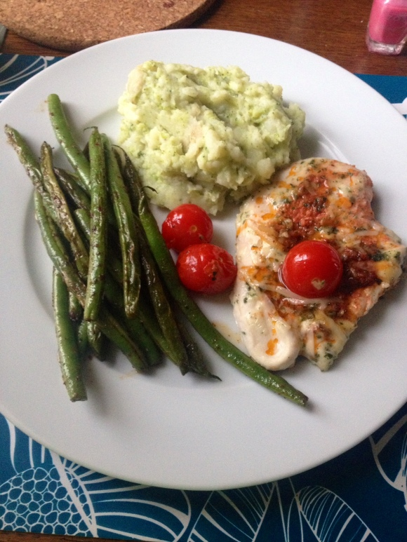 Italian Chicken with a side of potato & broccoli mash & green beans
