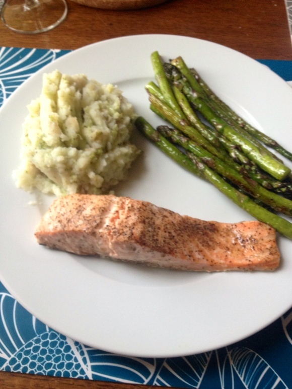Lemon pepper salmon fillet with a side of potato & broccoli mash & asparagus